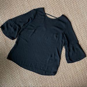DR2 Black Sheer 3/4 Ruffle Bell Sleeve Blouse